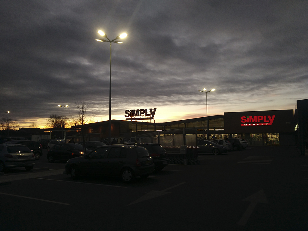 coucher de soleil, supermarché, simply-market, photo armand neble, AN-GRAFIK © 2017