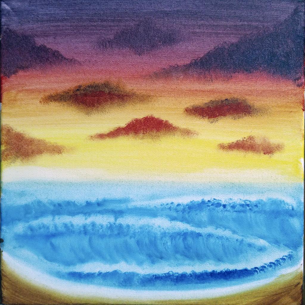 peinture, acrylique, paysage, coucher de soleil, nuages, ocean, vagues, armand neble, AN-GRAFIK © 2017