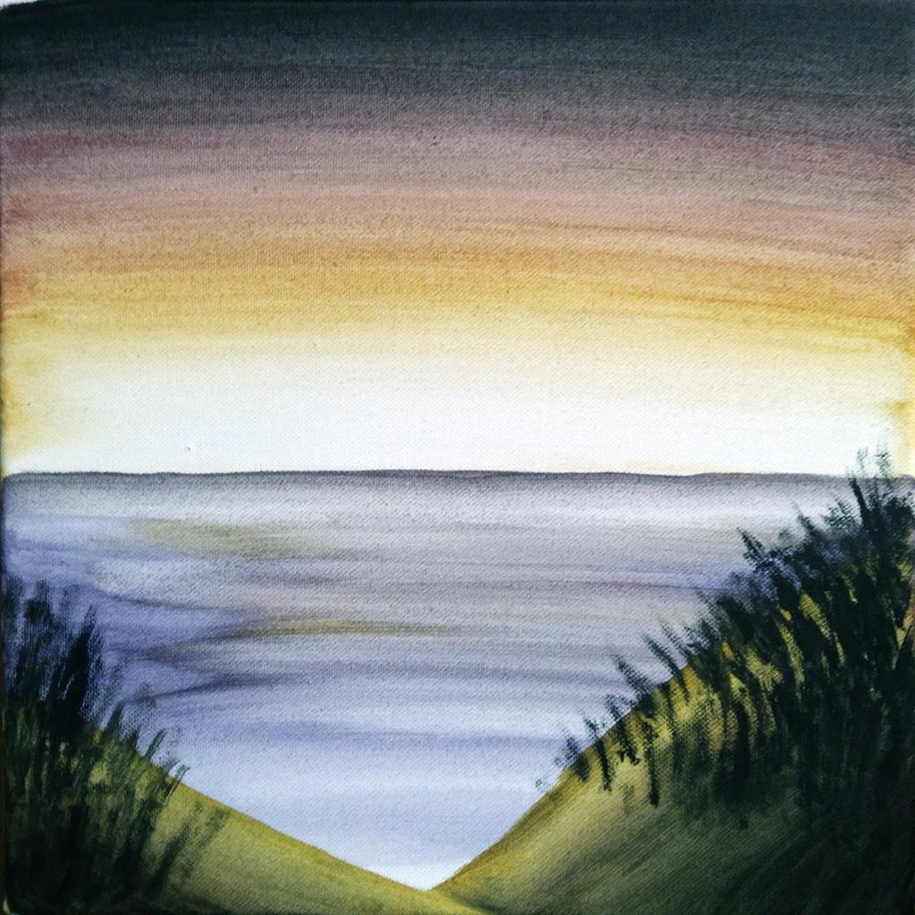 peinture, acrylique, paysage, coucher de soleil, plage, dunes de sable, armand neble, AN-GRAFIK © 2017